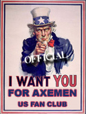 I Want You For Axemen US Fan Club - Click To Join For FREE!