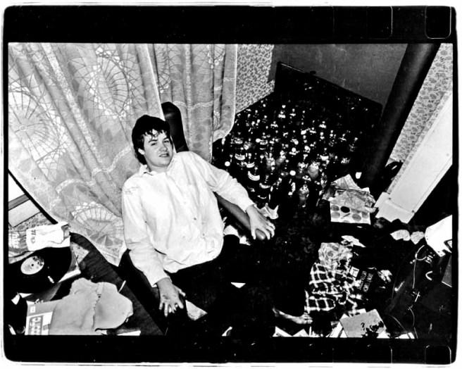 McCabe reclining at Château de McCabe amongst the sleek botts.