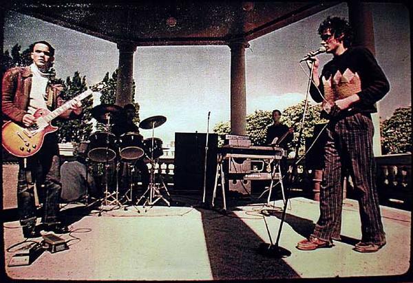 Perfect Strangers at their seminal Band Rotunda gig. L-R Bill Vosbergh, Richard Uti,Helm Ruifrock, Mark Thomas