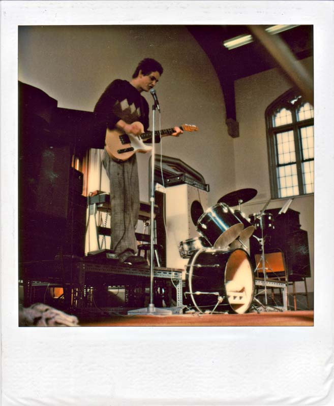 Mark Thomas of Perfect Strangers plays solo, Christchurch Art Centre, 1980 (photo Stu).