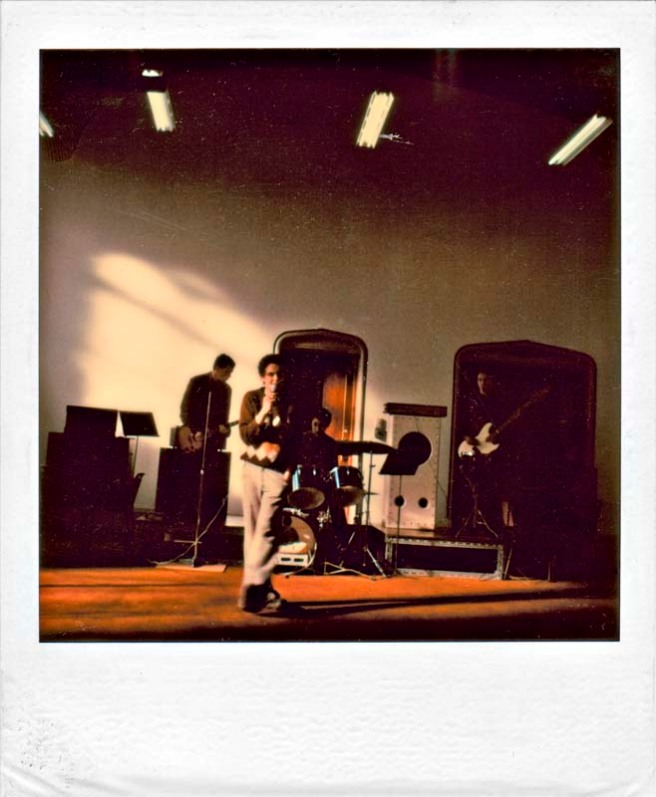 Perfect Strangers live at Christchurch Art Centre 1980. L to R Bill Vosburgh (guitar & vocals), Mark Thomas (vocals), Richard Uti (drums), Helm Ruifrok (bass).