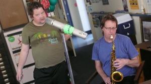 Steve McCabe, Al Right, giant mic, Radio Volcano