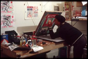 Stu screen printing in 2/222 High Street INK Inc. (circa 1984)