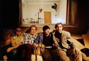 Derry Legend recording session at Writhe Studio (1987), left to right: Stu, Dragan Stojanovic, Little Stevie McCabe and Bob Brannigan