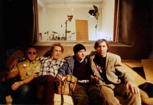 Derry Legend recording session at Writhe Studio (1987), left to right: Stu, Dragan Stojanovic, Little Stevie McCabe and Bob Brannigan