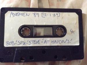 AXEMEN Steve, Bob, Stu at Haydns Jan 1989